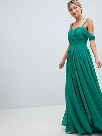 Y.A.S Floaty Maxi Dress With Cold Shoulder - Green