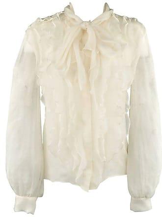 5cff3b4e3c9668 Oscar De La Renta Size 8 Cream Silk Chiffon Ruffle Tie Blouse