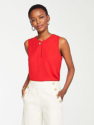 ANN TAYLOR Petite Button Neck Shell
