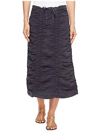 Xcvi Stretch Poplin Double Shirred Panel Skirt (Charcoal) Womens Skirt
