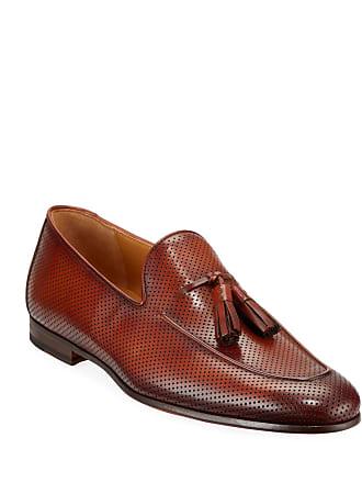 Magnanni Mens Hand-Antiqued Leather Tassel Loafers