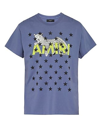 Amiri Star And Leopard Print Cotton T Shirt - Mens - Purple