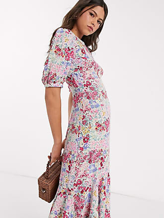 Warehouse floral print waterfall puff sleeve maxi dress in pink-Multi