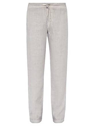 120% Lino Wide Leg Linen Trousers - Mens - Grey