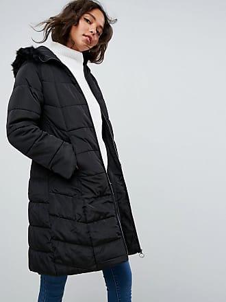 Asos ASOS - Doudoune longue avec capuche bordée de fausse fourrure - Noir b80832f9b7dc
