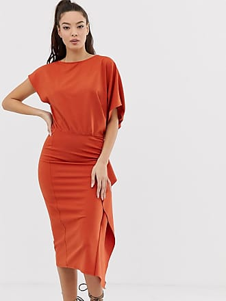 Asos cape side midi pencil dress - Orange