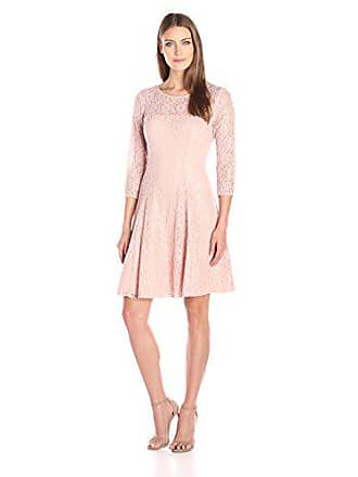 S.L. Fashions Womens Lace and Sequin Fit and Flare Dress, Faded Rose, 6