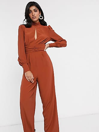 Asos Tall ASOS DESIGN Tall ruched waist detail jumpsuit with split front-Red