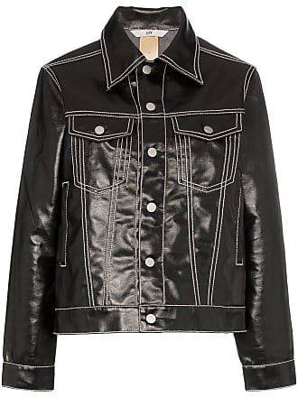Eytys Buck high shine contrast stitch denim jacket - Preto