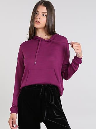 Basics Blusão Feminino com Capuz e Bolso em Tricô Roxo