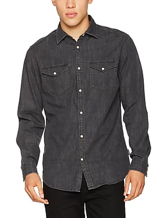 ec3926377e Jack   Jones Mens JORNEW ONE Shirt LS NOOS (Black Denim Fit Slim)