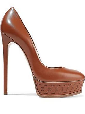 97194a4971ea5 Casadei Casadei Woman Leather Platform Pumps Tan Size 37.5