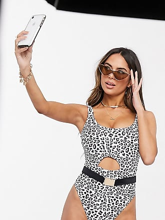 Wolf & Whistle Fuller Bust Exclusive Eco cut out swimsuit in animal print-Multi