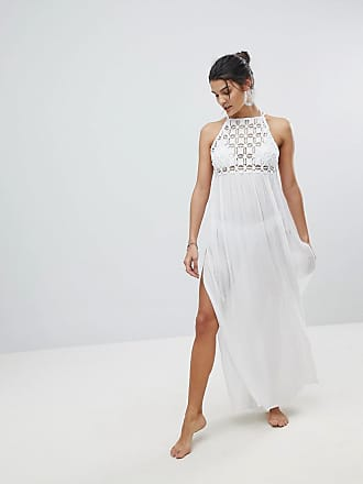 032c9dfdc1e Asos Premium Crochet Panel Maxi Beach Dress - White