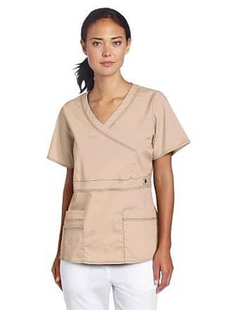 4242f794 Dickies Scrubs Womens Gen Flex Junior Fit Contrast Stitch Mock Wrap Shirt,  Khaki, Medium