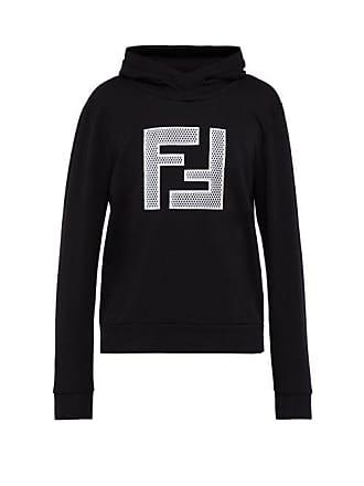f1528e72581d Fendi Mesh Logo Print Hooded Cotton Sweatshirt - Mens - Black Multi