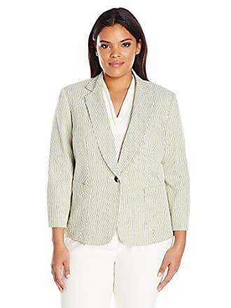 Kasper Womens Plus Size 1 Button Notch Collar Stripe Seersucker Jacket, Honeydew Multi, 16W