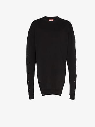 Diesel black popper button cotton sweatshirt