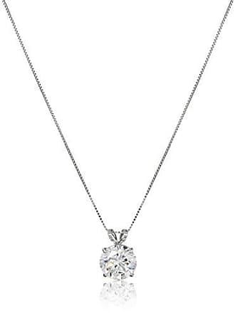 Amazon Collection 14k White Gold 8mm Round Cubic Zirconia Solitaire Pendant Necklace (2 carat, Diamond Equivalent), 18