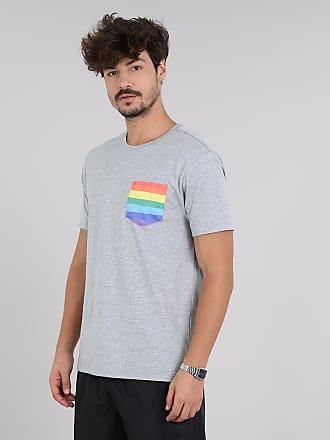 C&A Camiseta Masculina Pride com Bolso Estampado Arco-Íris Manga Curta Gola Careca Cinza Mescla Claro