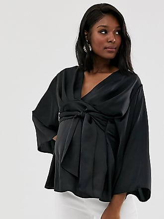 880be6b84aa3a Asos Maternity ASOS DESIGN Maternity long sleeve plunge top with tie waist  in satin