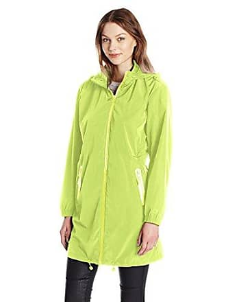 A|X Armani Exchange Womens Zip Up Hooded Water Resistent Rain Coat, Lime 1624, Large