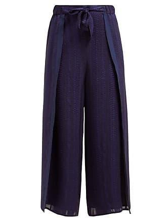 Zeus + Dione Psarou Silk Blend Jacquard Trousers - Womens - Navy