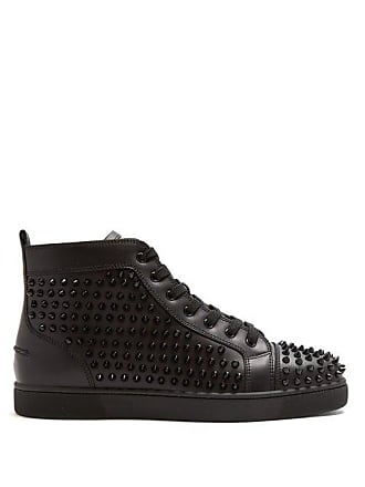 Christian Louboutin Louis Spike Embellished High Top Leather Trainers - Mens - Black