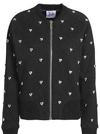 Zoe Karssen Zoe Karssen Woman Studded Distressed Cotton Bomber Jacket Black Size M