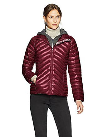 874b1bd0 Tommy Hilfiger Womens Short Packable Down Jacket with Logo and Zipout  Fleece Hood, Crushed Violet