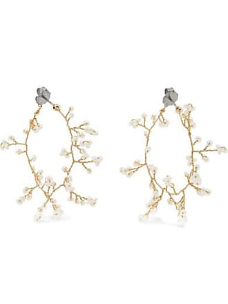 Quatorze Babys Breath Gold-plated Pearl Hoop Earrings - White
