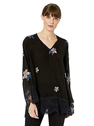 Johnny Was Womens Long Sleeve V-Neck with Embroidery and Lace Trim, Black, S
