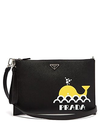 c11808780015 Prada Whale Print Leather Pouch - Mens - Black Multi