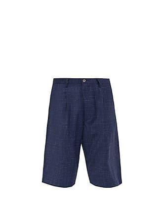 Junya Watanabe Tropical Check Mid Rise Wool Shorts - Mens - Navy White