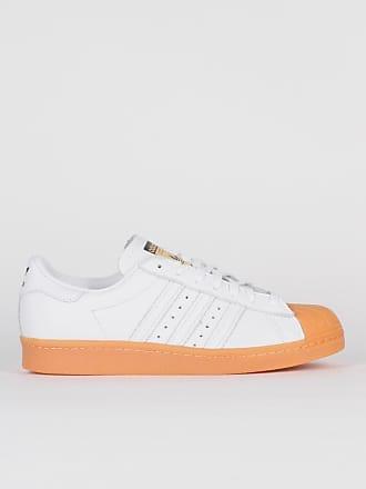 adidas Weiße Gummi Leder Originals Superstar 80S DLX Schuhe - 6.5 - Orange/White