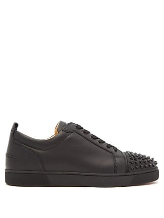 Christian Louboutin Louis Junior Spike Embellished Leather Trainers - Mens - Black