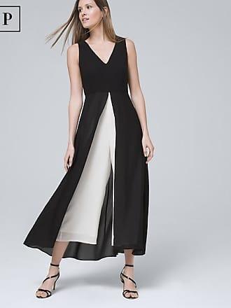 White House Black Market Womens Petite Sleeveless Overlay Jumpsuit by White House Black Market, Black/Ecru, Size 12