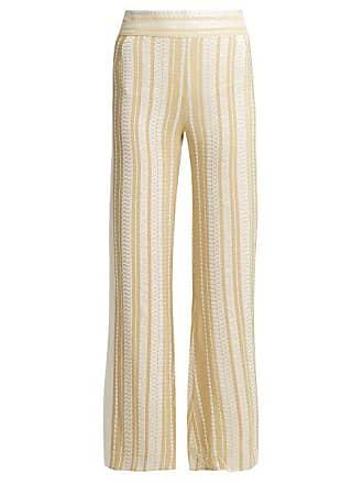 Zeus + Dione Alcyone Striped Silk Blend Trousers - Womens - Cream Gold