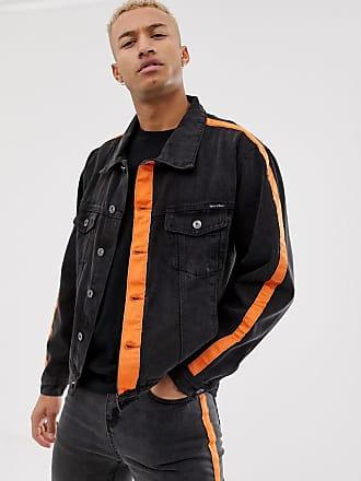 Liquor & Poker denim jacket with orange stripe in black - Black