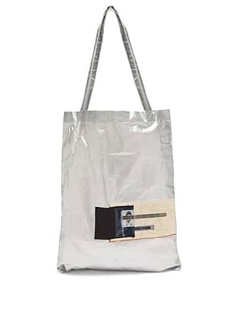 Rick Owens Rick Owens Drkshdw - Photographic Patch Metallic Cotton Tote Bag - Mens - Silver