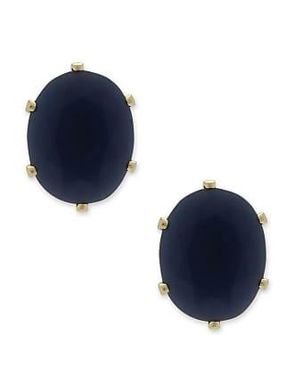 Renata Rancan Brinco Oval Pequeno com Zircônia Banho em Ouro 18K - Azul Marinho