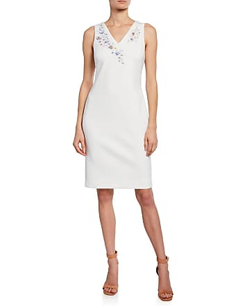 Iconic American Designer Floral-Embroidered Sleeveless Sheath Dress