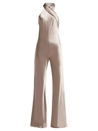 7be12fee445 Galvan Pandora Halter Neck Satin Jumpsuit - Womens - Silver