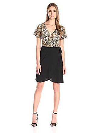 Star Vixen Womens Short Sleeve 2-Tone Faux Wrap Ballerina Dress with Tulip Skirt, Leopard/Black, X-Large