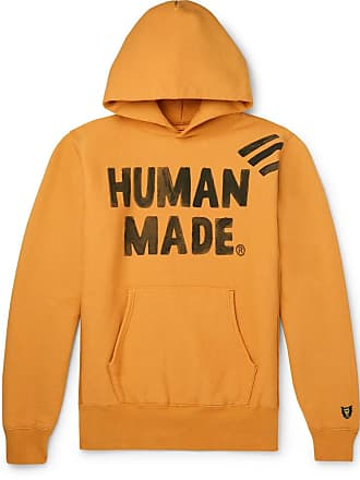 Human Made Logo-print Fleece-back Cotton-jersey Hoodie - Orange