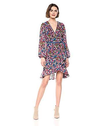 Betsey Johnson Womens Long Sleeve Chiffon Wrap Dress, Cherry Print, 8