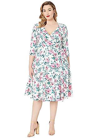 e98deba324 Unique Vintage Plus Size 1940s Style Print Kelsie Wrap Dress (Cream/Pink  Floral)