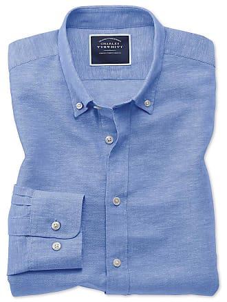 6afa44db8354c CHARLES TYRWHITT Twillhemd Classic Fit Baumwolle Leinen in kräftigem Blau  Knopfmanschette