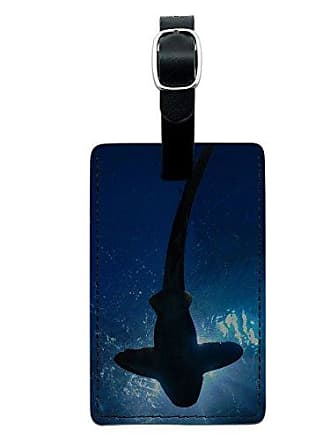 Graphics & More Graphics & More Shark-Scuba Diving Leather Luggage Id Tag Suitcase Carry-on, Black