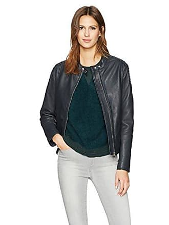 William Rast Womens Leather Washed Moto Jacket, Slate Blue, S